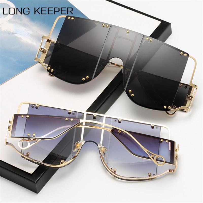 2021 New Square Rivet Trend Oversized Sunglasses Men Women Brand Design Metal Big Frame Sun Glasses Female Vintage Punk Goggles