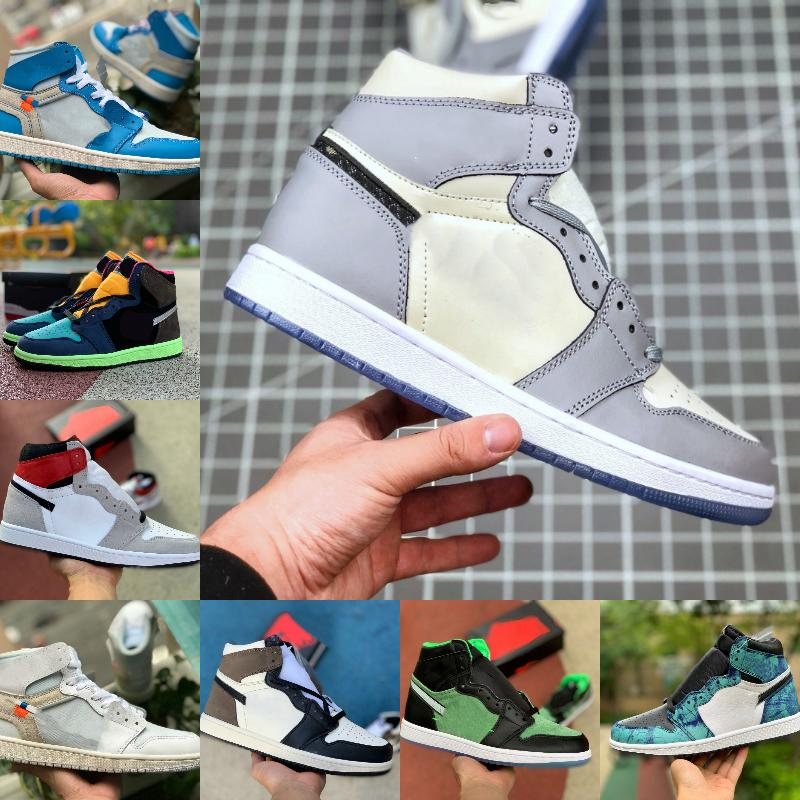 Yeni 1 1 S Basketbol Ayakkabıları Erkekler Kadınlar Kravat Boya Parçalı Backboard 3.0 Mavi UNC Patent Kırmızı Beyaz Siyah Kraliyet Büküm Yeşil Toe Mocha Tasarımcı D01