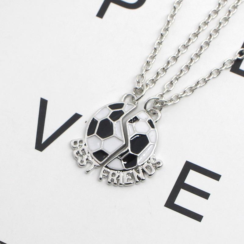 """2 unids / par """"Mejor amigo"""" niños niños amistad collares esmalte collar de fútbol para niños joyería regalos de cumpleaños 408 T2"""