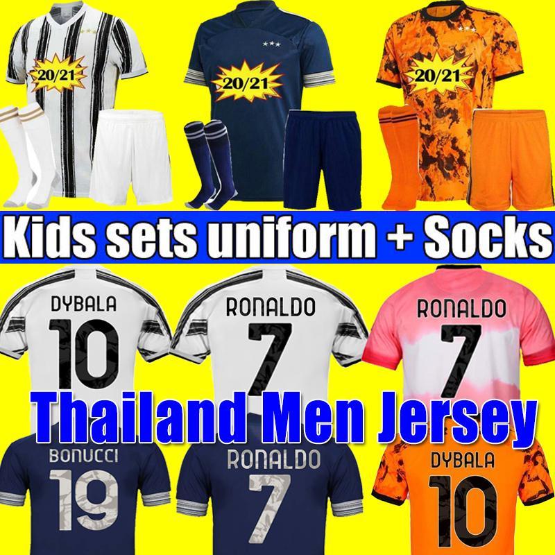 JUVENTUS soccer jersey RONALDO DYBALA MORATA DE LIGT football shirt 20 21 JUVE Men + Kids kit fourth 4th HUMANRACE boy sets + socks