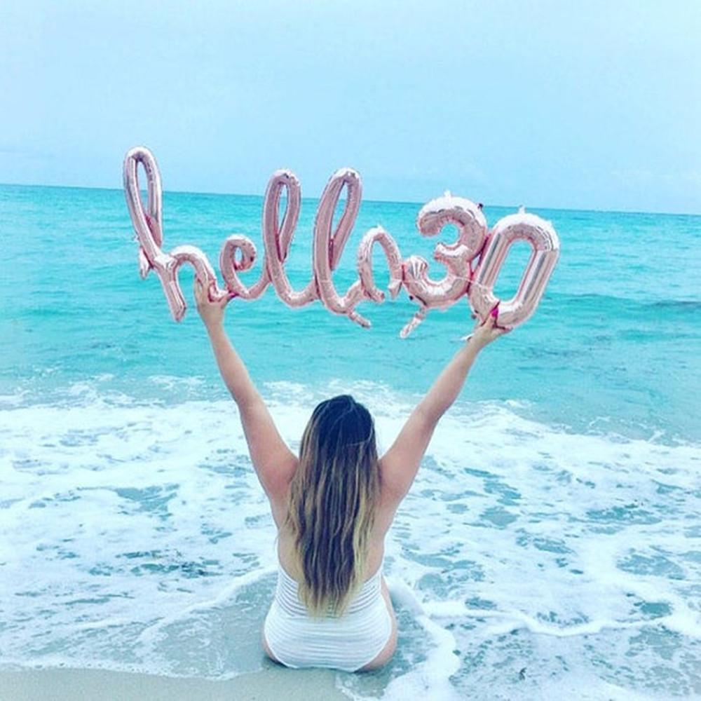 Gül Altın Hello 30 Balonlar Bebek Duş 10/13/15 / 21 / 25th 30th Doğum Günü Partisi Dekor 21 30 Sayı Şişme Hava Globos