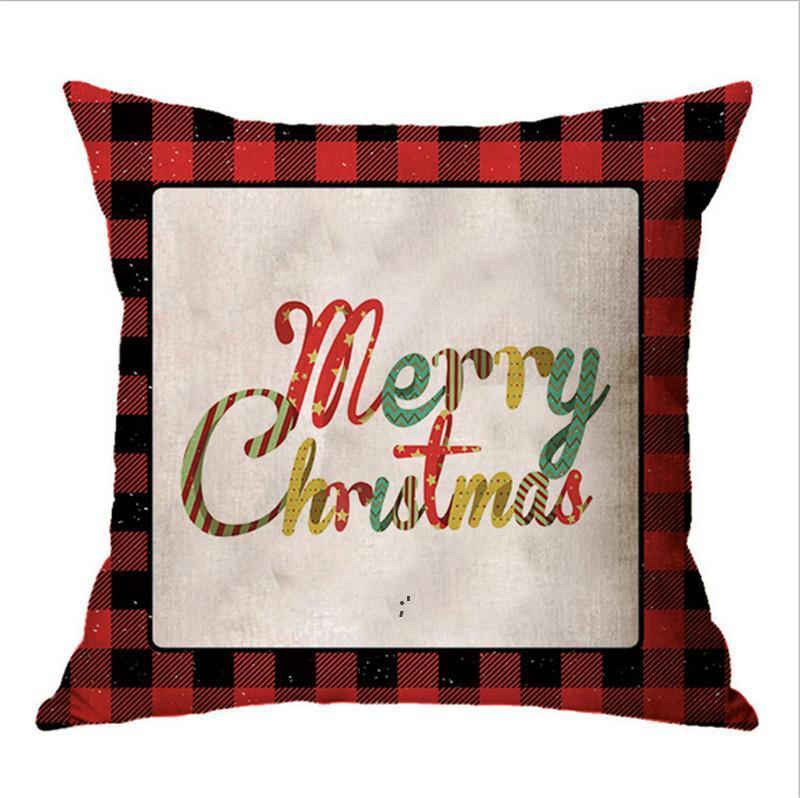 45 * 45cm 크리스마스 베개 케이스 레드 그리드 린넨 편지 만화 베개 크리스마스 디자인 던지기 베개 커버 홈 장식 선물 CCD9211