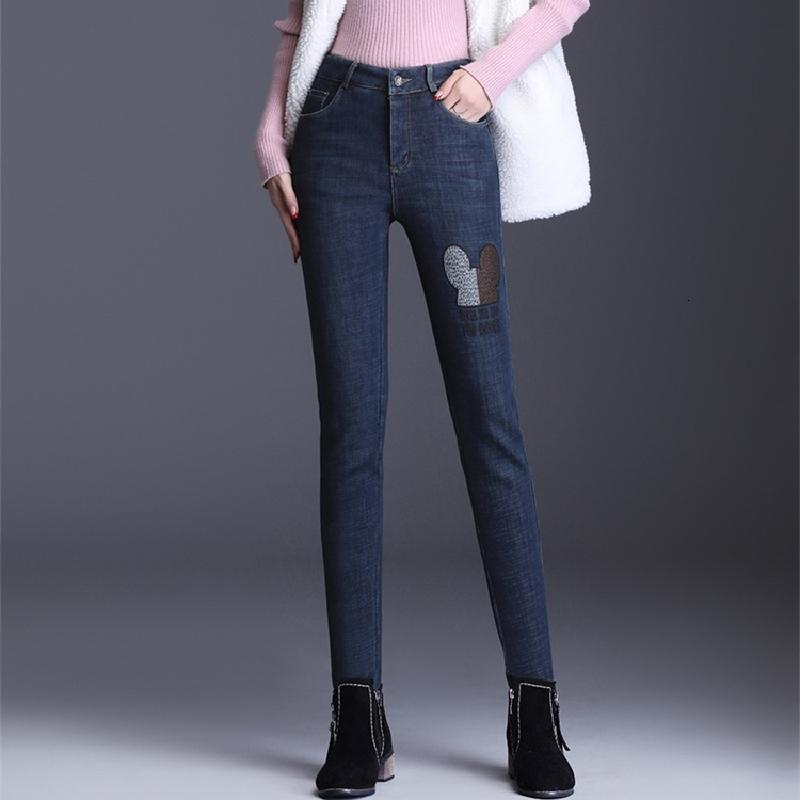 2021 Новые глотания карандашей джинсовой женской ковбойской вины вышитые штаны, большие брюки упругости леди. Ywe3.