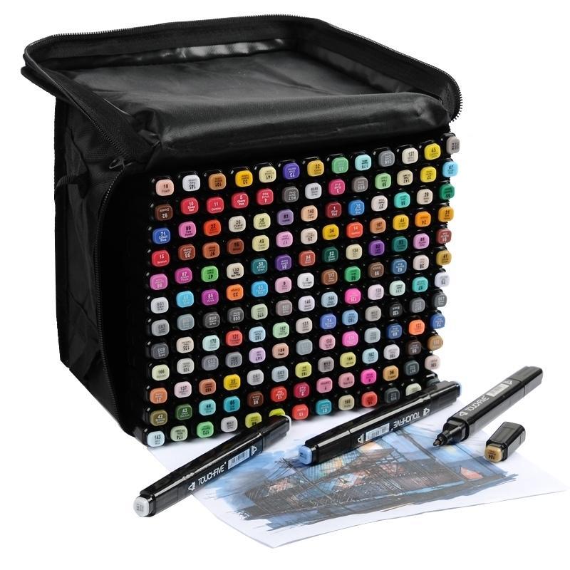 TouchFive Marker 60/80/168 Color Алкогольные жирные чернил на базе чернил Лучшие для манги двойное возглавляемое искусство эскиз маркеров кисти ручка Y200709