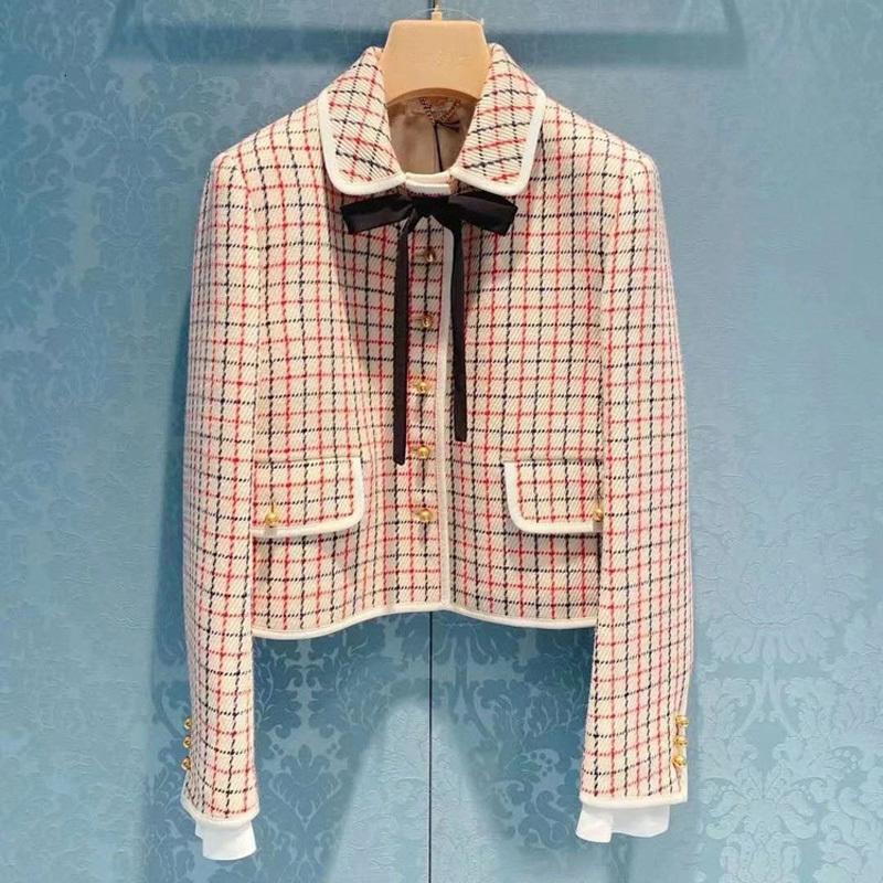 2021 novas mulheres curvar casaco curto bolsos Único xadrez de seda de inverno de outono de outono senhoras csg8