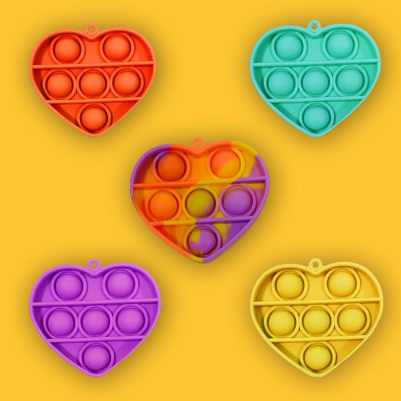 Regenbogen Einfache Grübchen Key Ring Push Zappel Blase Keychain Cartoon Sensorie Spielzeug Finger Fun Puzzle Squeeze Ball MMA150