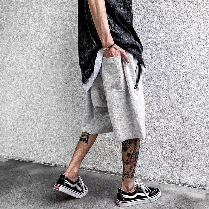 Nuevo 2021 Harajuku Lavado retro suelto cordón ocasional cortos para hombres y mujeres Hip hop recto Hop Bolsillos de cremallera de gran tamaño Cinco puntos Pantalones AQYA