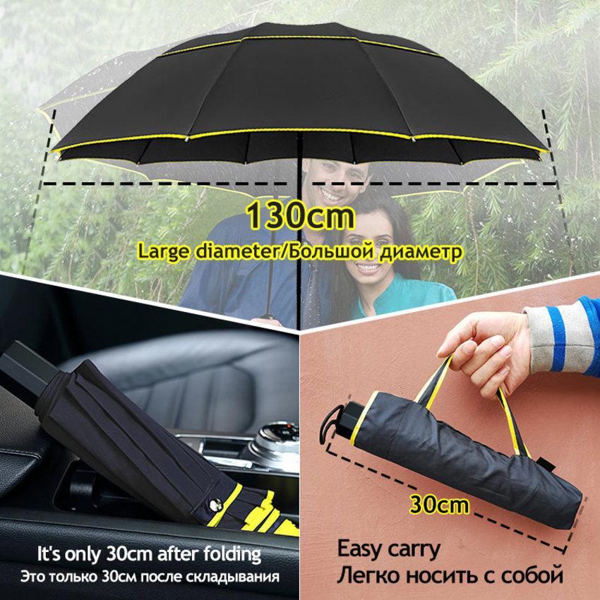 Çift Katmanlı 130 cm 3 Folding Büyük Yağmur Kadınlar Dayanıklı Rüzgar Geçirmez Erkekler Şemsiye Iş Taşınabilir Açık Famliy Paraguas 48WU