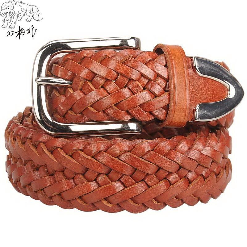 Голова ремня, рука сплетенный кожаный ремень, fashionx019