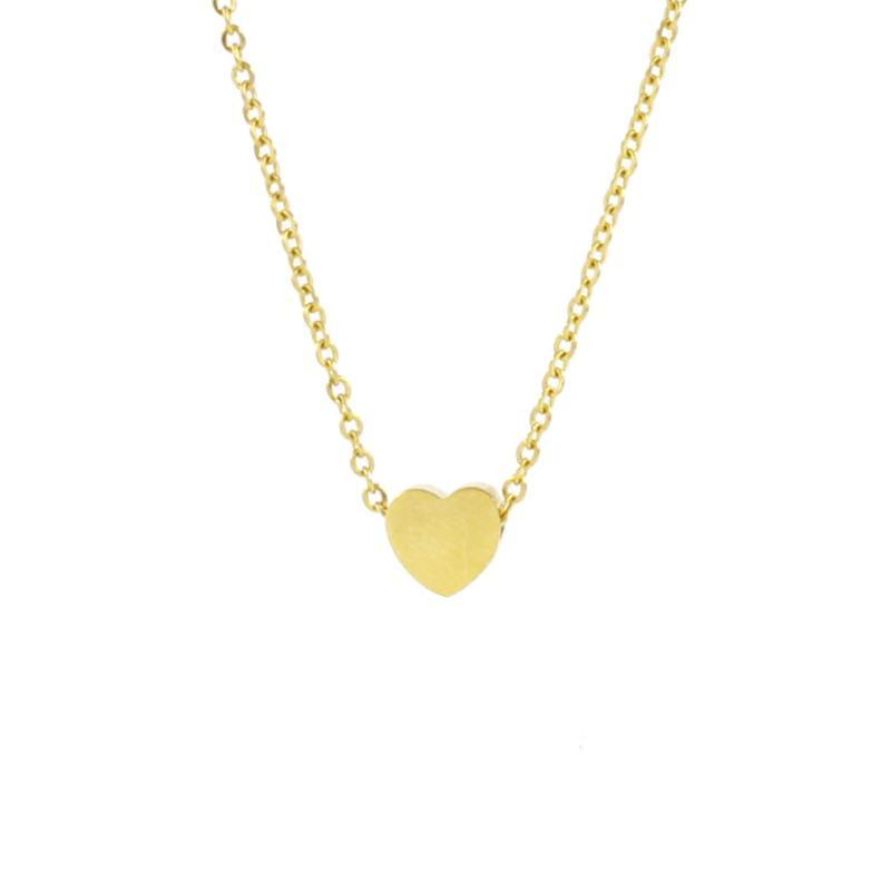 Pendant Necklaces Stainless Steel Love Heart Necklace For Women Bead Metal Clavicle Chain Gold/Sliver/Rose Gold Color