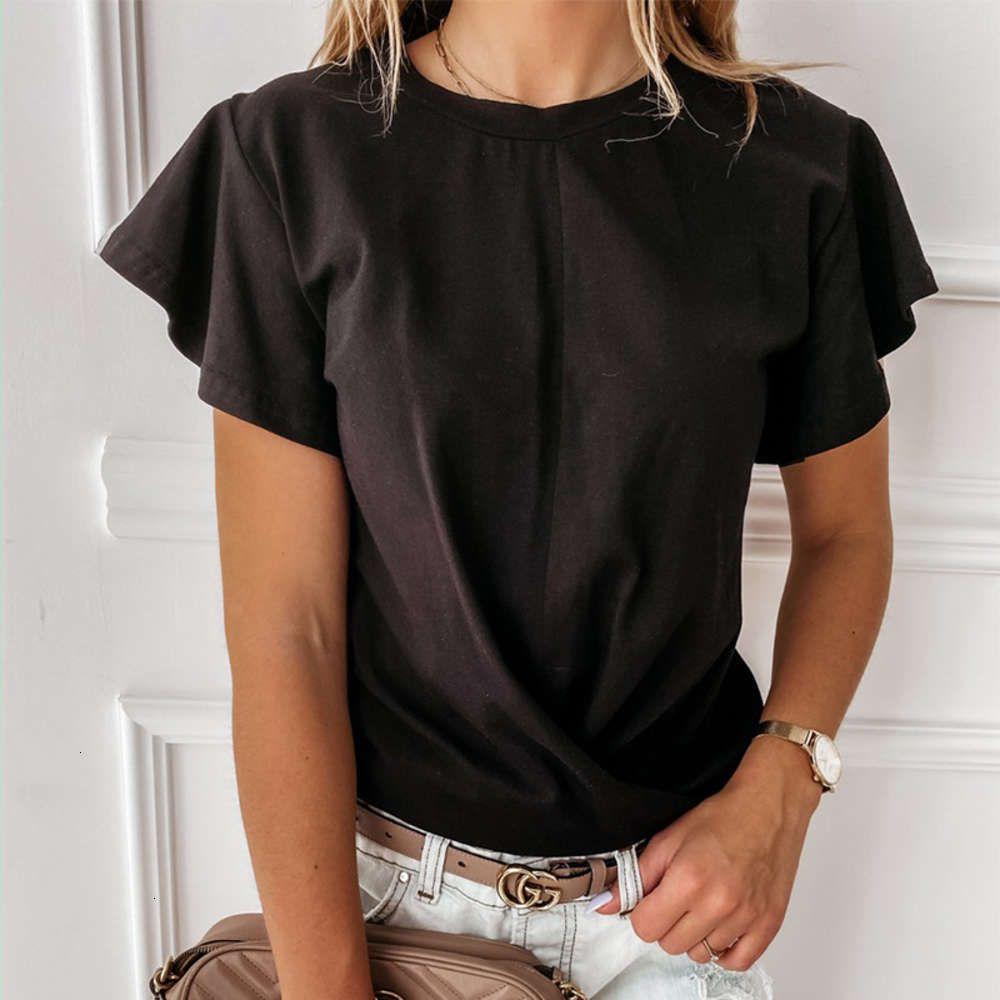 2021 Sommer Solid Base Top Ruffle Kurzarm T-Shirt für Frauen