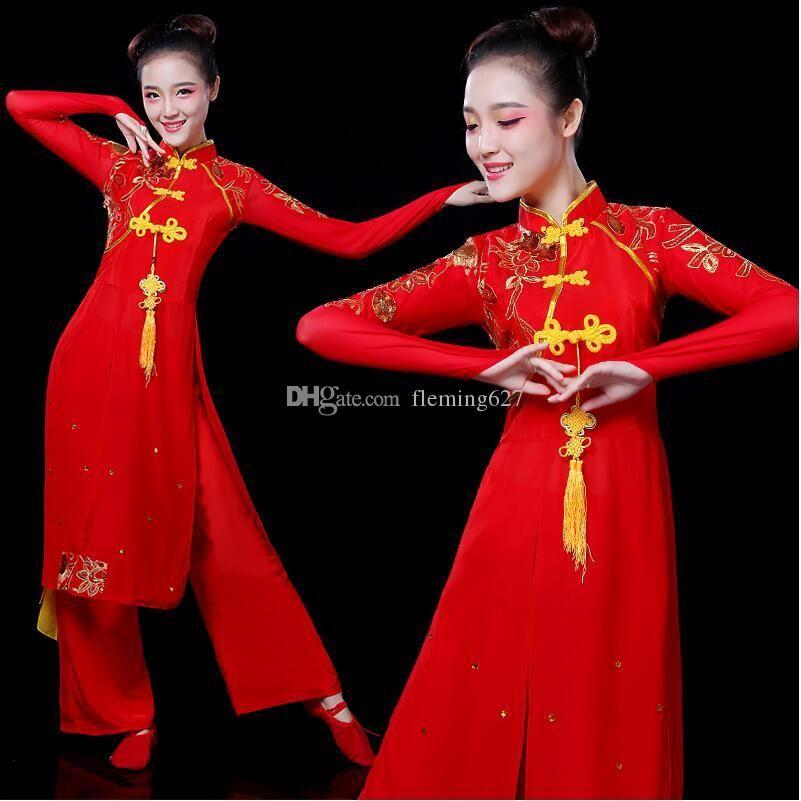Venta caliente Fan National Fan Dance Stage Ropa Antigua Yangko Vestido Trajes de baile chinos tradicionales Disfraces de danza oriental