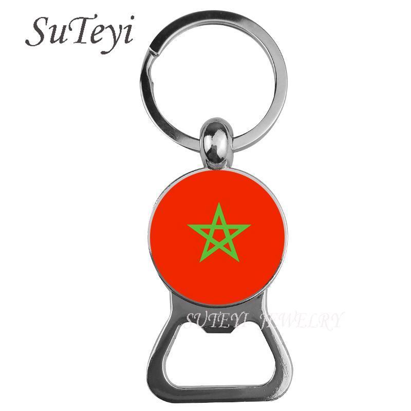 Nouveau Maroc et Mozambique et Namibie Keychain National Flag Beer Bottle ouvre-clé Bague Cool Accessoires Cadeau de bijoux pour hommes TFPTC