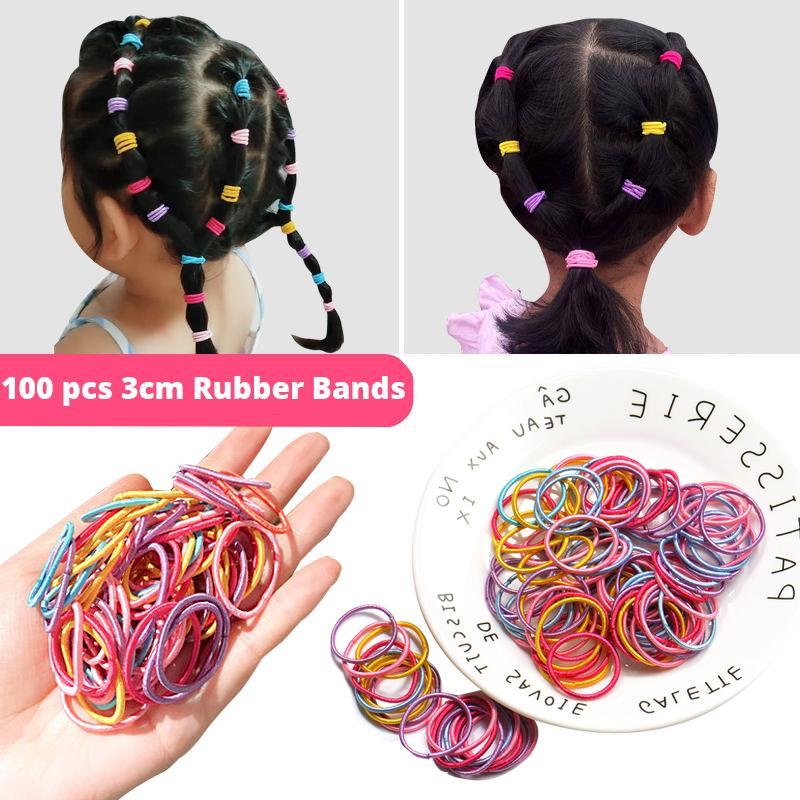 Nylon 100 peças, 3cm, banda de segurança elástica, suporte de rabo de cavalo, acessórios para cabelos infantis, cocar, diy 2020