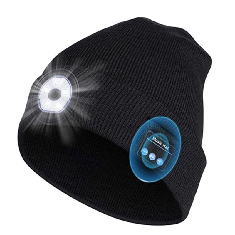 Cappello Bluetooth Berretto Bluetooth Bluetooth5.0 Altoparlante auricolare wireless stereo con microfono MIC 5 LED vivavoce per tutti i cappelli di musica smartphone