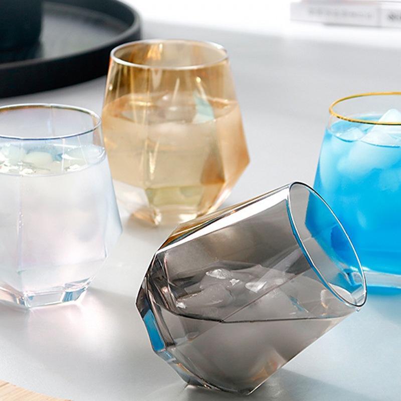 300 мл Стеклянные бокалы для бокалов Молоко Главная Чашка Цветной Кристалл Геометрия Hexagonal Phnom Penh Whiskey