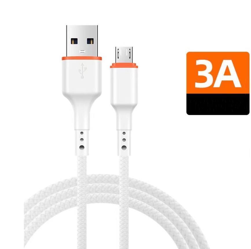 삼성 Huawei 중국어 모바일을위한 3A USB TYPE-C 케이블 땋은 빠른 충전 데이터 케이블 전화 충전기