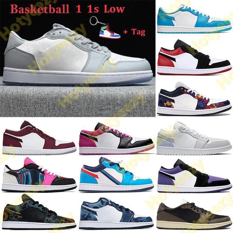 2021 1 1S 낮은 농구 신발 UNC 파리 남성 여성 운동화 회색 검은 세일 검은 발가락 GS 트라이 - 컬러 씻어 데님 트레이너 키 체인