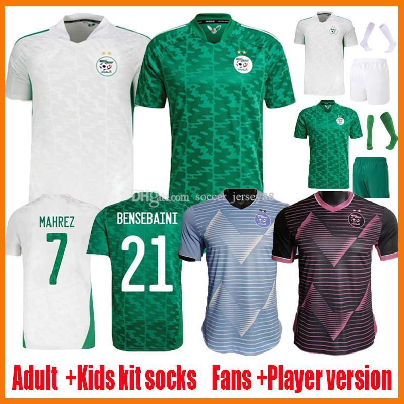 2021 2022 Algerien Soccer Jerseys Mahrez Fans Spieler Version 21 22 BOUNEDJAH FEGHOULI BENNACER Atal Home White Away Green Maillot de Foot Kids Kits Football Hemd