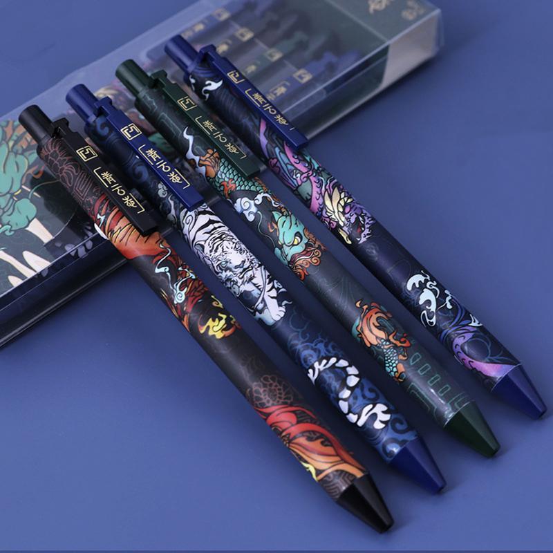 Ballpoint Pens 4Pcs Luxury Quality 0.5mm Gel Pen Big Ink Capacity Exquisite Student Exam School Office Stationery