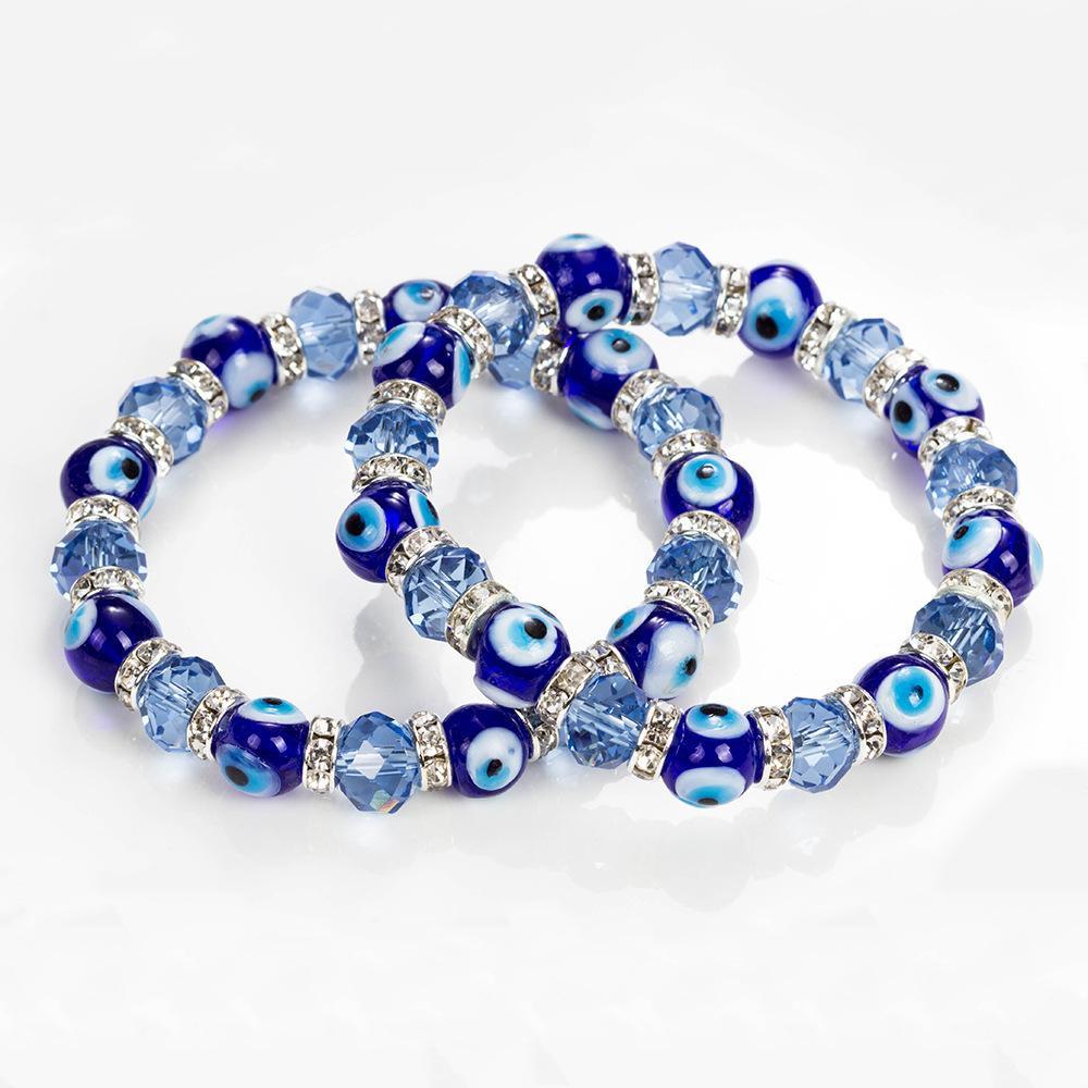 Şeytanın göz kristal bilezik kadın basit mavi kristal boncuklu elastik kristal bilezik takı