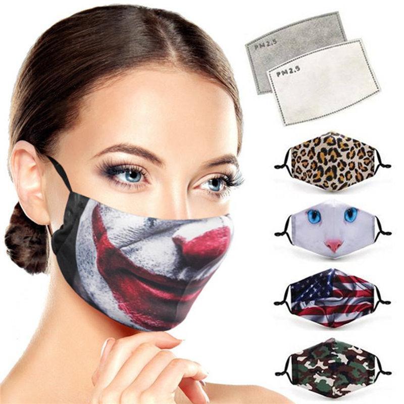 3D Cartoon Face Mask Women Men Dustproof Designer Masks Washable Cotton Magic Face Mask Flag Floral Animal Print Breathable Protective Masks