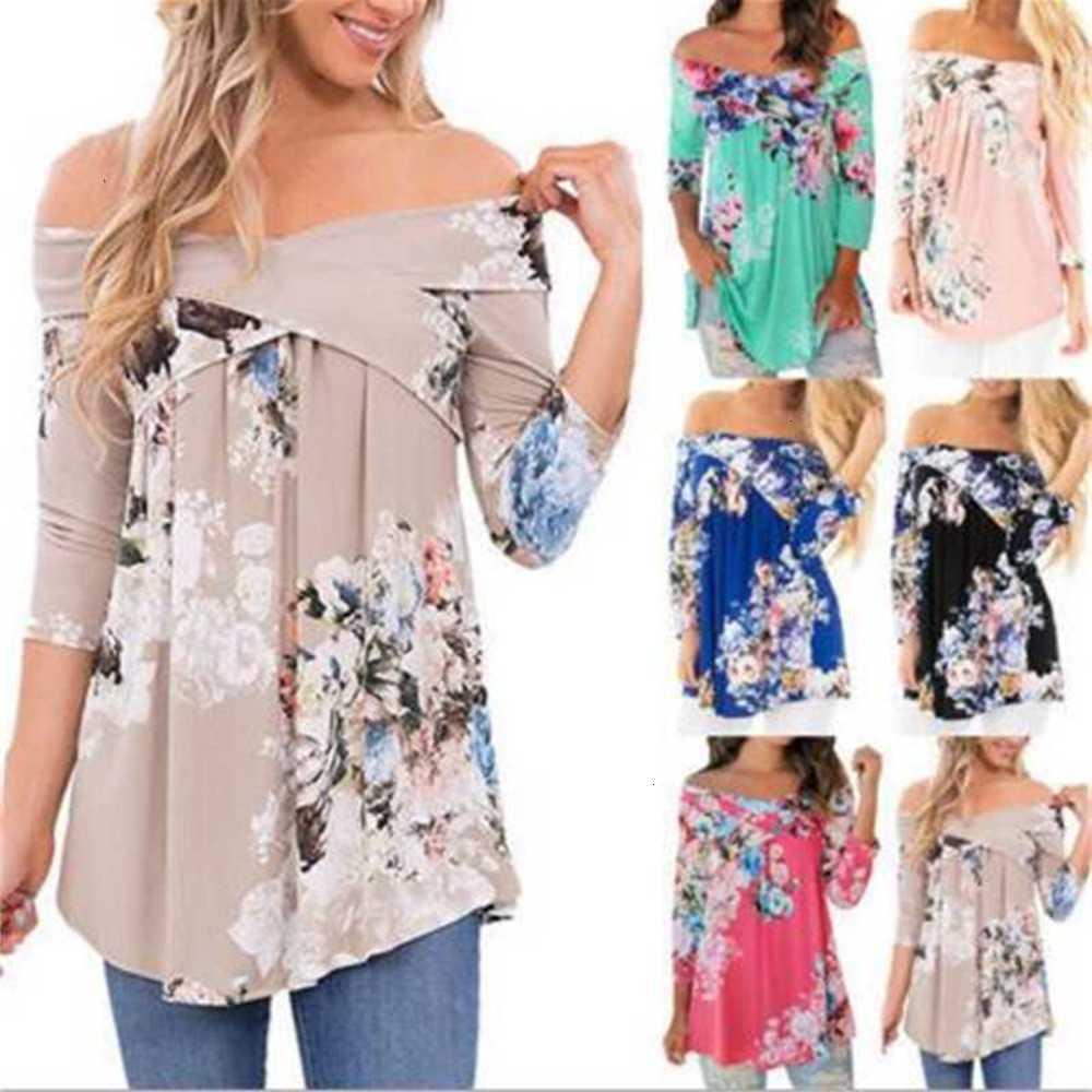 Forme las impresiones baratas de las mujeres camisetas de la ropa casual de la manga larga camiseta femenina floja ajuste tops camisas