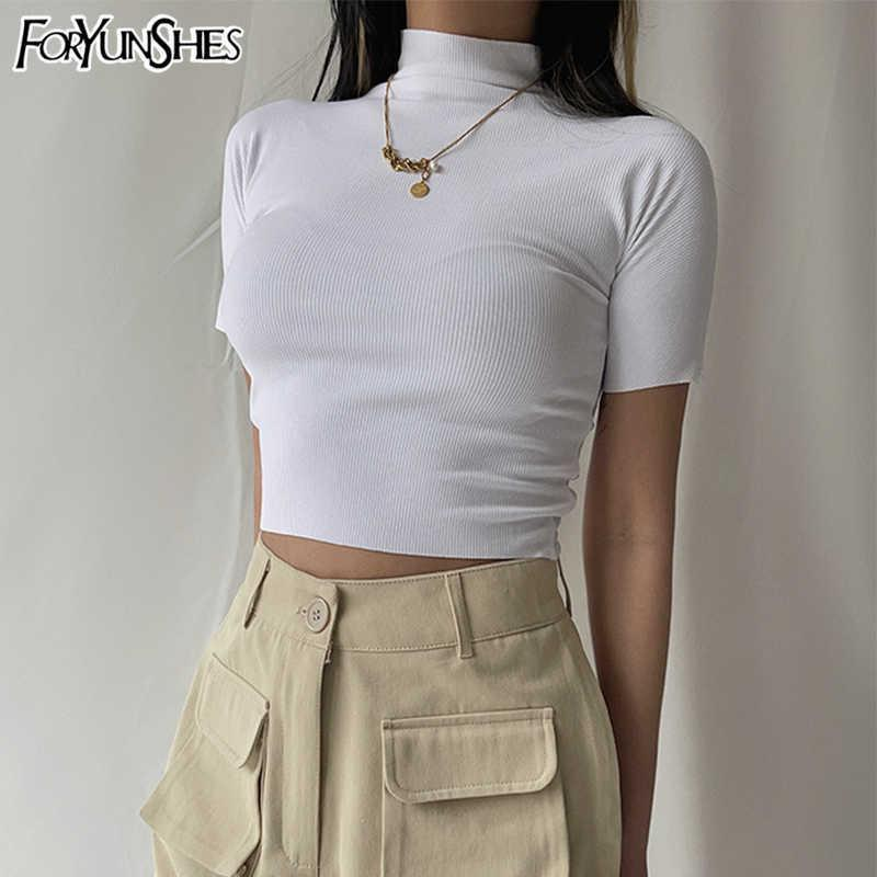 FORYUNSHES Women Turtleneck Short Sleeve Tshirt Ribbed White Stretch Bodycon Crop Tops Summer Sporty Sexy Y2K Clothes 210709