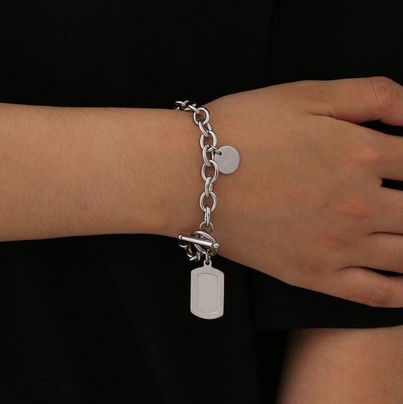 Link, Kette Edelstahl Lariat Armband für Frauen Kubanische Link Geometrisches Pedant Bangels Lasso Minilist Liebhaber Handgelenk