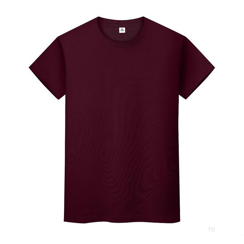 Nouveau t-shirt de couleur solide à col rond Summer Coton Boîte à dos à manches courtes et femmes à manches longues 8C6EIO
