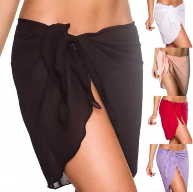Playa de las mujeres Bikini Cover Up Color sólido Pareo de gasa Wrap Skirt Sarong Bufanda Beachwear Traje de baño Traje de playa Trajes de baño