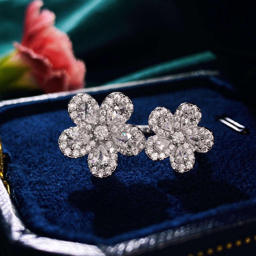 Hbp luxo novo s925 prata japonesa jóias coreanas líquido vermelho flor versátil anel aberto mão ornamento