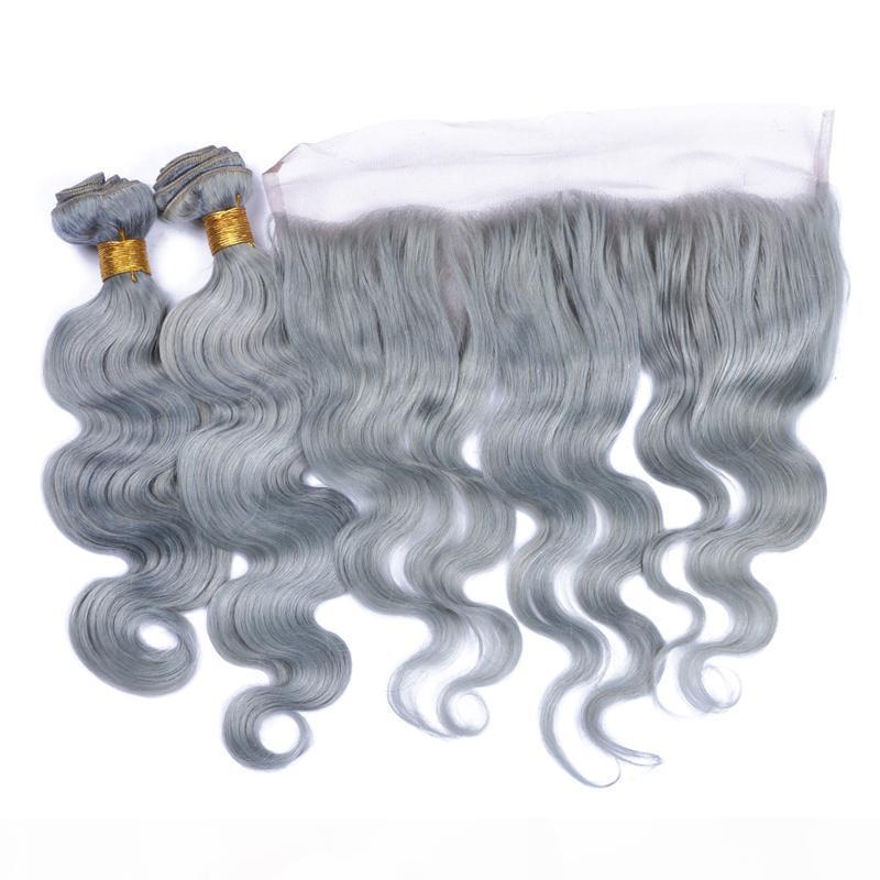 Body Wave Hair webt mit Spitzenfrontal mit Babyhaar-Peruanisches Haar silbergraues Ohr zum Ohr-Spitze-Frontal mit Erweiterungen