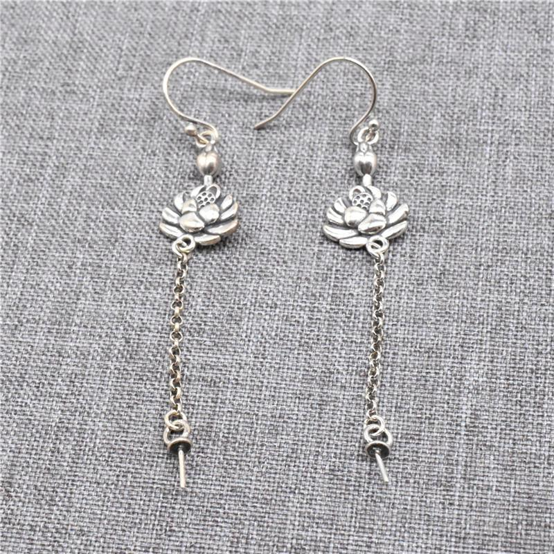 Stud 925 Sterling Silver Lotus Ear Wire Hooks With Cup And Peg Rolo Chain Earring Drops