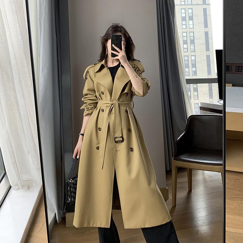 Хаки Ветровка Весна Новый Высокий Конец Мода Темперамент Среднего длинного пальто Двухбордовые Chic Classic Trach Women