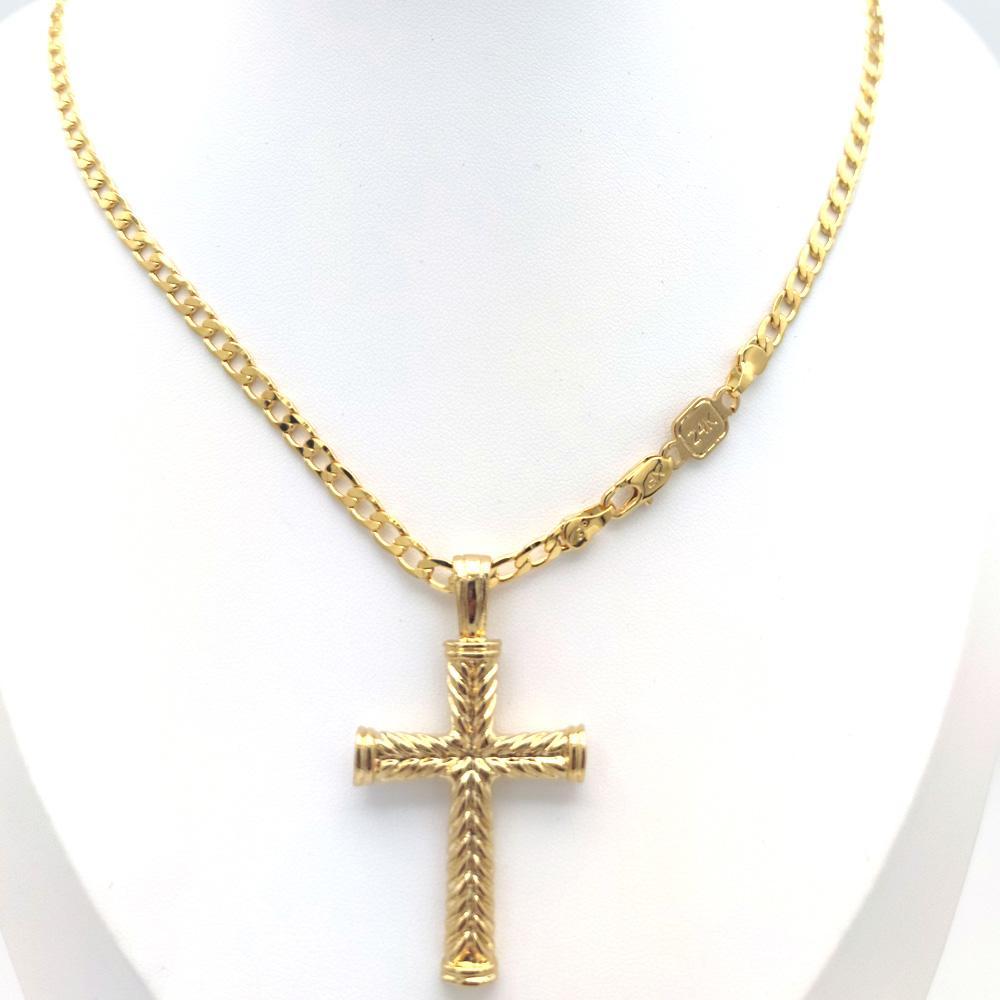 Cross Pendant Gold Gold Gold Charms Fine 24 K Collana Collana Collana Curb Catena Christian FAI DA TE Gioielli Fabbrica dio regalo
