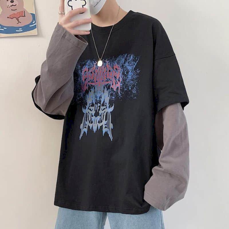 Punk Tshirt Femme Couple T-shirt Automne T-shirt à manches longues Étudiante Fake Deux Loose Coréen Sauvage Trend Jeunes Vêtements Hommes Goth Top 210525