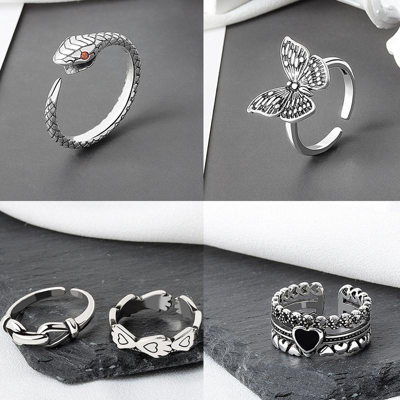 Vintage 925 Silver Rings Adjustable Couples Women Ring Snake Cross Feather Flower Heart Star Butterfly Charm Men Party Jewelry Valentine's Day Gift