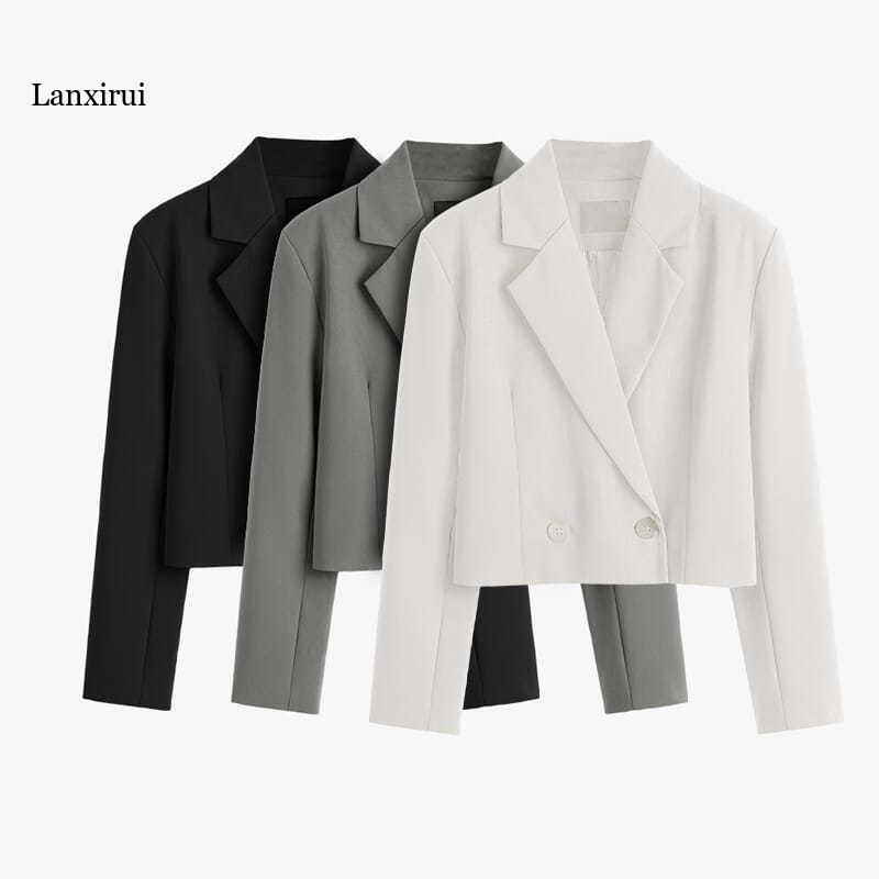 Fatos femininos blazers moda fashion elegante short blazer trabalhos de escritório casual vintage cor sólida manga longa colarinho peito duplo
