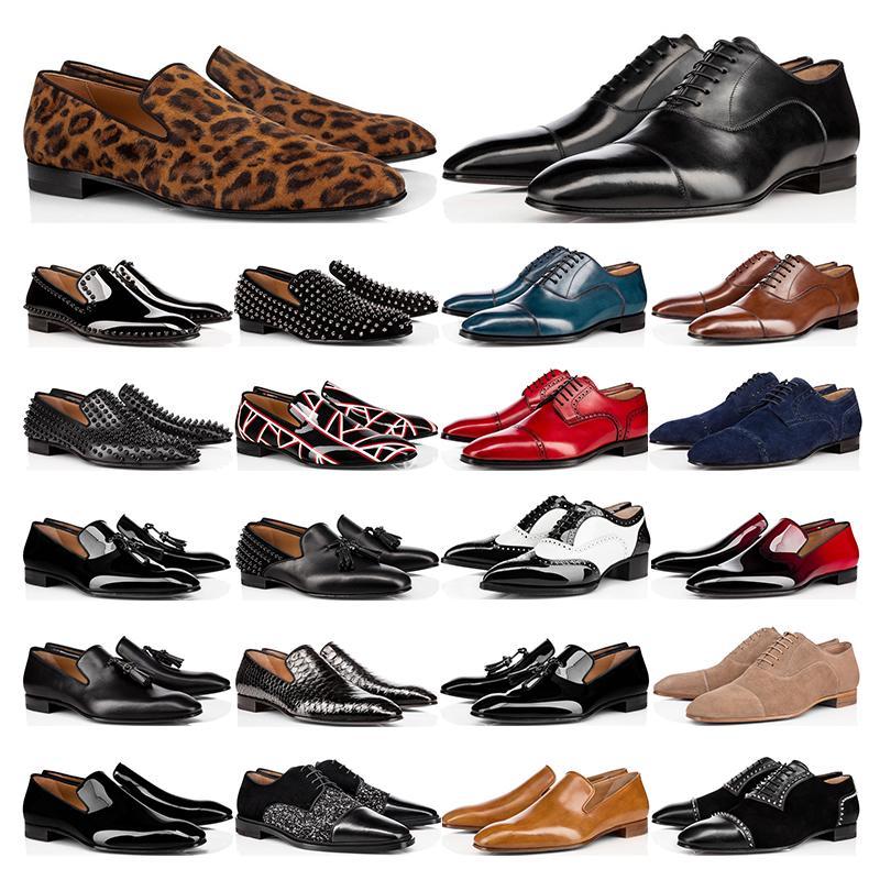 2021 Moda dos Mensos Oxford Derby Sapatos Vermelho Bottoms Black Branco Brown Bule Bule Suede Patente de Couro Rebites Glitter Moda Vestido Casamento Negócio