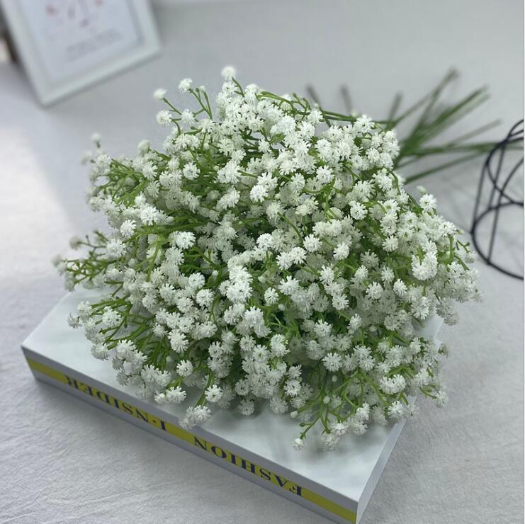 único branco chega gypsophila bebê respiração artificial flores de seda de seda planta decoração de casamento