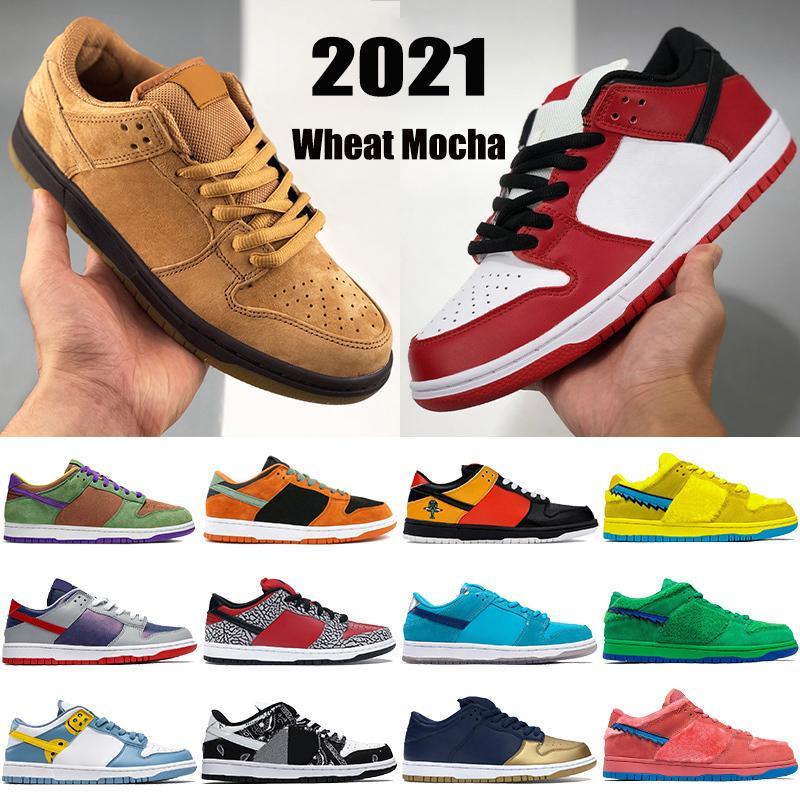 2021 New Men Basquetebol Sapatos De Trigo Mocha Chicago Cerâmica Travis Scotts Preto Branco Cimento Raygun Sumba Low Mens Mulheres Sneakers Treinadores