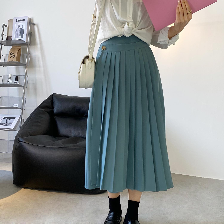 2021 Les femmes verront devant la ligne de design élégant taille haute Femme Faldas Jupe Jupe VPNH