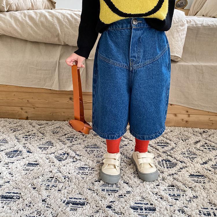 AMBB Korean New Spring Summer Kids Girls Jeans Seventh Denim Trousers Quality Unisex Elastic Waist Summer Spring Children Unisex Pants