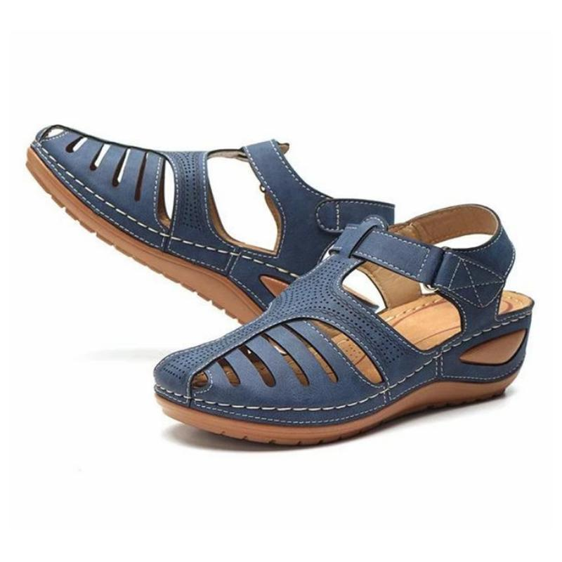 2021 Retro PU Leather Sandals Summer Wedges Round Toe Hollow Out Sandals For Women Top Quality Women Zapatillas Mujer