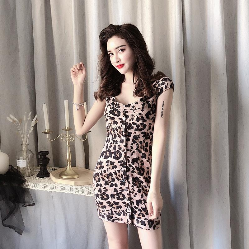 Квадратный воротник леопардовый платье для женщин летом тонкий подходит для похудения Высокая талия винтажная юбка дизайн одинокие погружные знакомства маленькая юбка