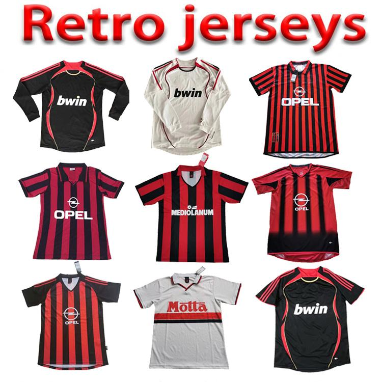 90 91 Retro Fútbol Jersey Home Gullit 10 Weah 9 Milan Shevchenko Baresi 6 Maldini 3 Van Basten Ronaldo Inzaghi Kaka 22 Camisetas de Fútbol