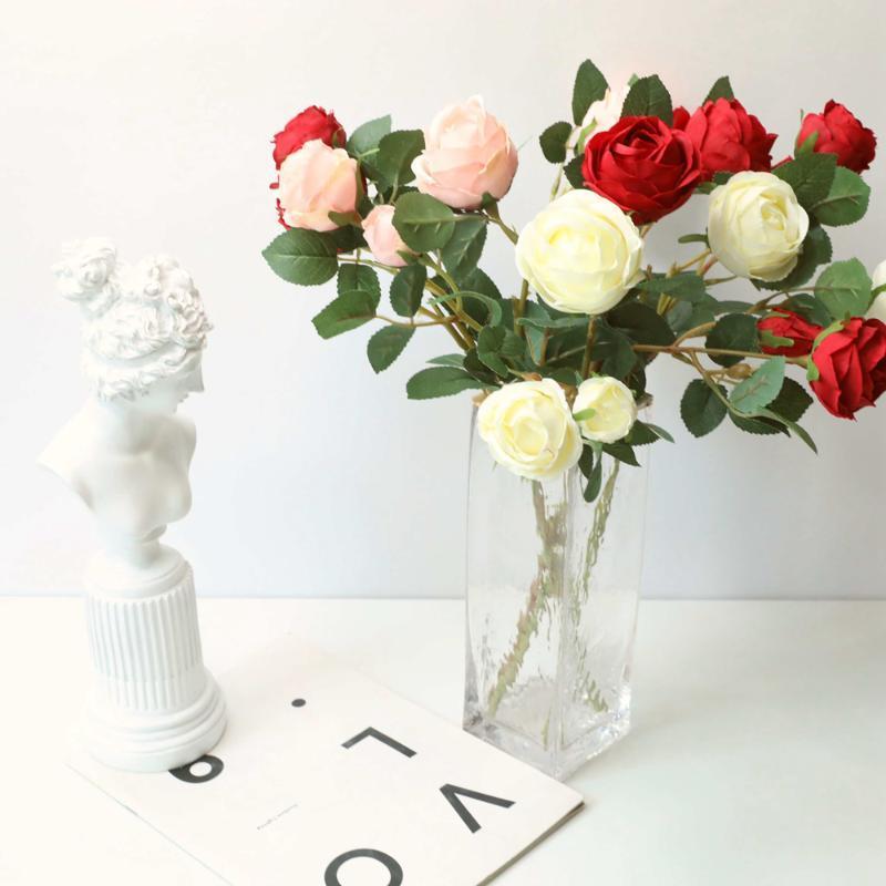 Dekorative Blumen Kränze 3 Köpfe Seide 2 Knospen Künstliche Rosen Zweig für Hochzeit Party Home Urlaub Dekor Imitation Frische Flores