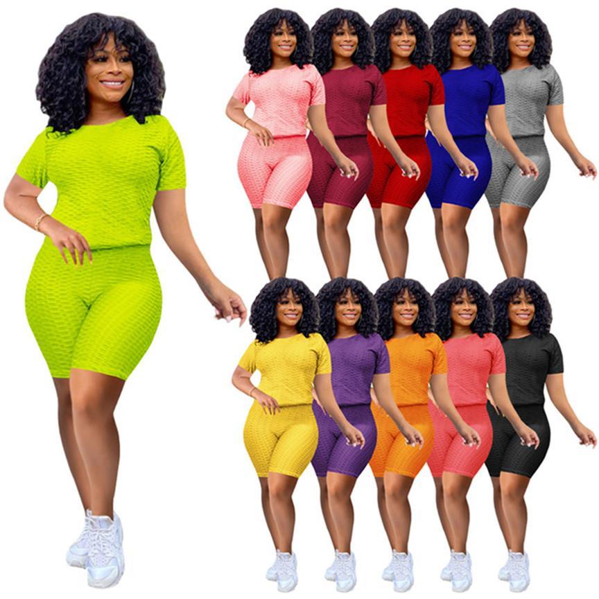 Frauen Hohe Stretch Outfits Casual Trainingsanzug Solide Farbe 2 Stück Sets Sommerkleidung Sport Jogger Anzug Kurzarm T-Shirt + Mini Shorts 4487
