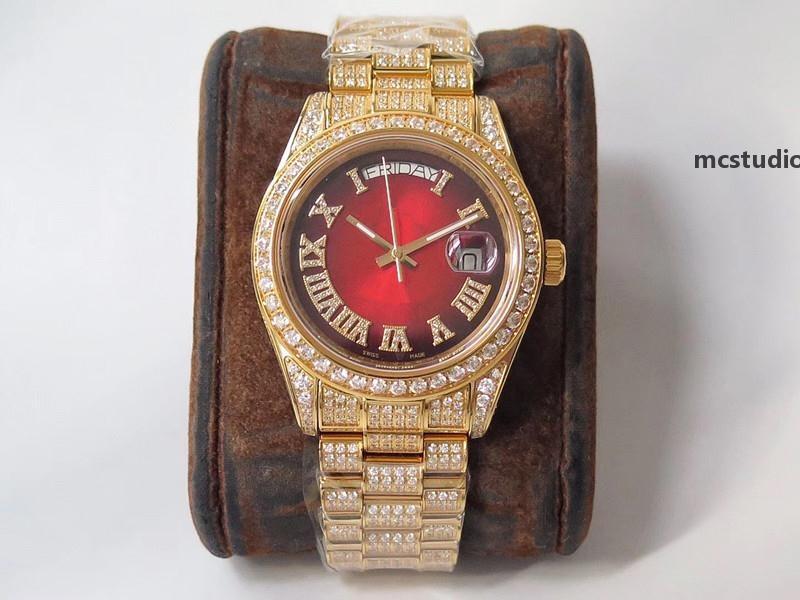 Reloj para hombre de alta calidad 904L Reloj de diamante Reloj de Lujo 2836 Movimiento Relojes Semana Calendario Doble tiempo Montre de Luxe I0 Hyy
